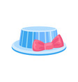 blue hat with pink bow party holidays vector image vector image
