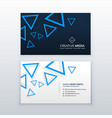 blue triangle business card design template vector image vector image