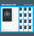calendar planner template for 2018 year set of 12 vector image vector image
