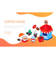coffee house - modern colorful isometric web vector image vector image