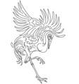 dancing japanese crane bird vector image vector image