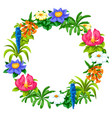 decorative frame with tropical flowers exotic vector image