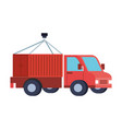 delivery service with truck and container vector image vector image