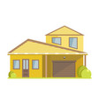 facade of small house with yellow walls and vector image vector image