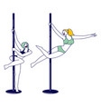 female characters practicing pole dance concept vector image