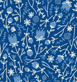 Field flowers doodle pattern 4 vector image vector image