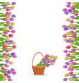 green grass tulip border frame vector image vector image