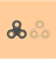 hand spinner dark grey set icon vector image vector image