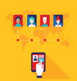 hand touching tablet with web icons social vector image