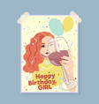 happy birthday girl card greeting card vector image