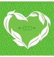 heart frame made from green leaves vector image
