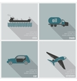 icons land air and water transport vector image vector image
