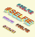 isometric hashtag - selfie internet blogging vector image vector image
