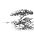 lake or river bank drawing boat and a chalet on vector image vector image