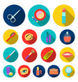 makeup and cosmetics flat icons in set collection vector image