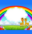 nature rainbow view with the cloud board blank vector image vector image