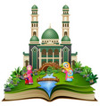 open book with group of happy muslim woman and her vector image vector image