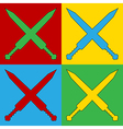 Pop art crossed gladius swords icons vector image vector image