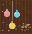 postcard christmas balls on the beads merry vector image