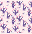 purple seamless pattern with cacti and vector image vector image