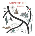 roads mountains and cacti adventure map design vector image vector image