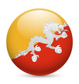 Round glossy icon of bhutan vector image vector image