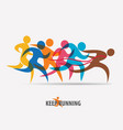 running people set of symbols competition and vector image vector image