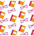 school book and glasses object seamless pattern vector image