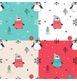 seamless patterns set with hand drawn penguins vector image vector image