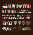 set cute phrases for valentines day vector image vector image