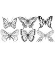 set of contour drawings of various butterflies vector image