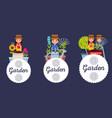 set of garden people flowers tools label vector image vector image