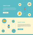 set of wd icons flat style symbols with website vector image vector image