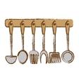silver rack utensils kitchen icon vector image