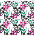skulls print skull pattern in black pink and vector image vector image