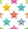 Smiling stars seamless pattern vector image