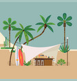 summer beach bar scene vector image vector image