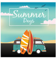 summer days van surfboard sky background im vector image vector image