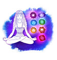 woman in pose of lotus on space background vector image vector image
