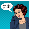 Woman Talking on the Phone Pop Art vector image vector image