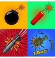 Cartoon bomb dynamite stick grenade with fire vector image