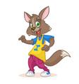 cartoon funny wolf dancing vector image