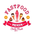 Daily fresh ice cream and desserts cafe emblem vector image