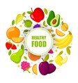organic fruits frame isolated banner with vector image