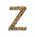 a group of people shape english alphabet letter z vector image vector image