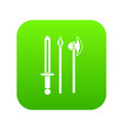 Ancient weapon sword pick and axe icon digital