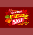 autumn sale end season advertising banner vector image vector image
