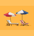 beach chairls with parasols vector image