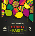 birthday invitation card with colorful balloons vector image