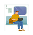 business person or busy man riding subway vector image vector image